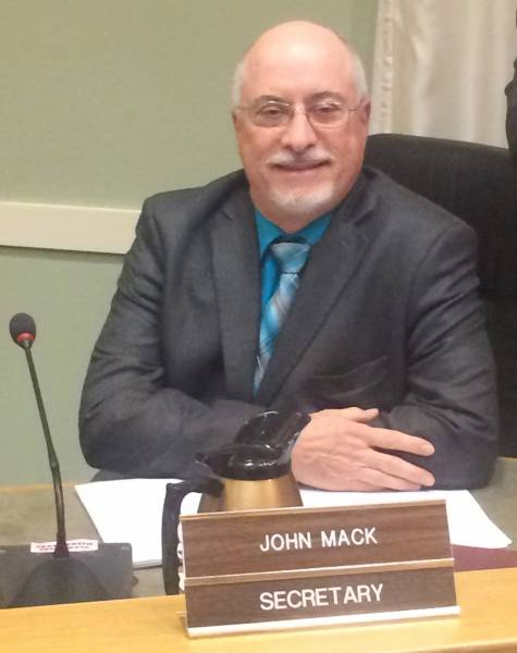 Mack on the Supervisor's dais during the January 2, 2018, reorganization meeting.